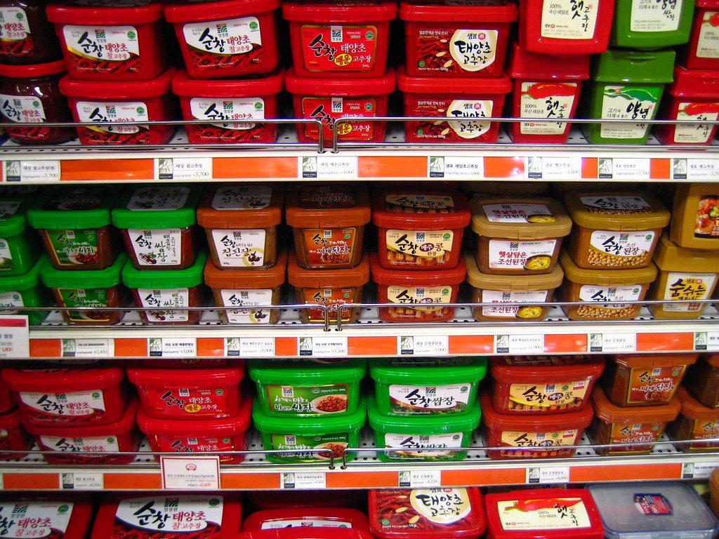 Korea sauces on display at lotte mart